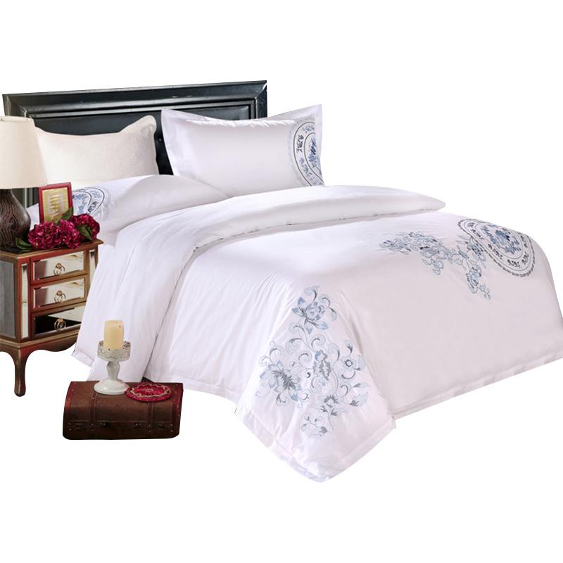 五星级酒店床上用品批发全棉刺绣贡缎被套罩绣花宾馆四件套纯白色
