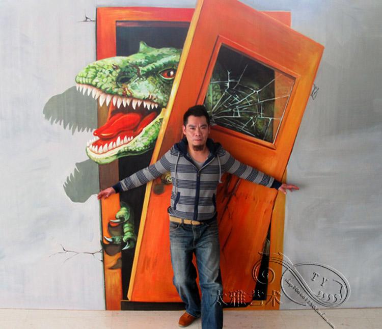 手繪3D立體畫油畫布高清噴繪3D畫展4D錯覺藝術上門手繪壁畫地畫貼