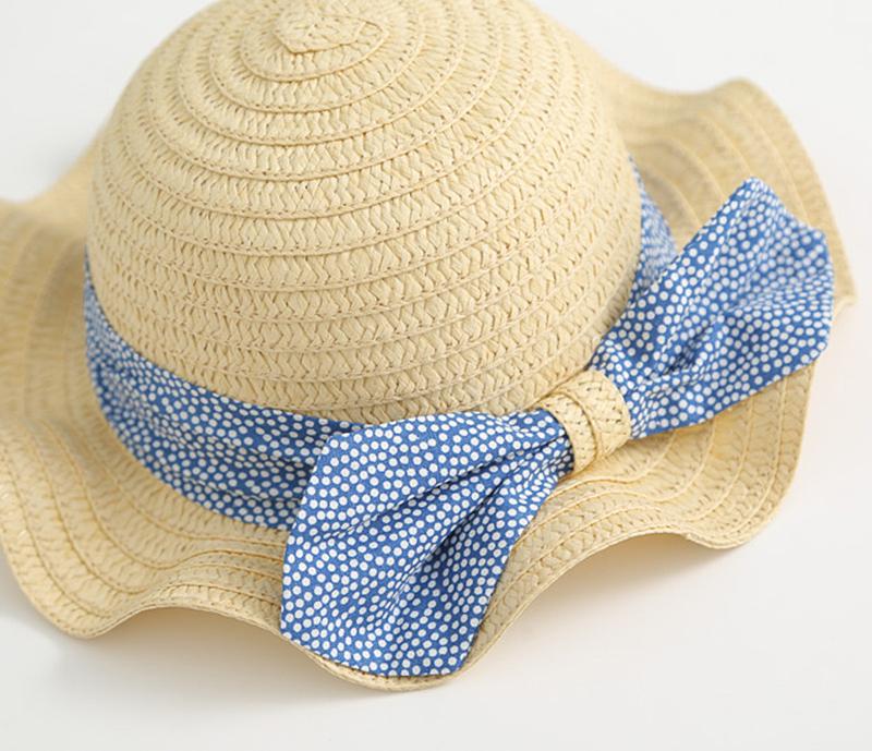 儿童太阳帽子清新韩国风波点蝴蝶结女童草帽出游遮阳帽宝宝沙滩帽
