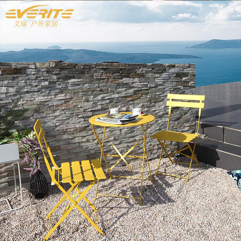 阳台桌椅三件套休闲简约小茶几户外庭院铁艺露台室外网红折叠桌椅