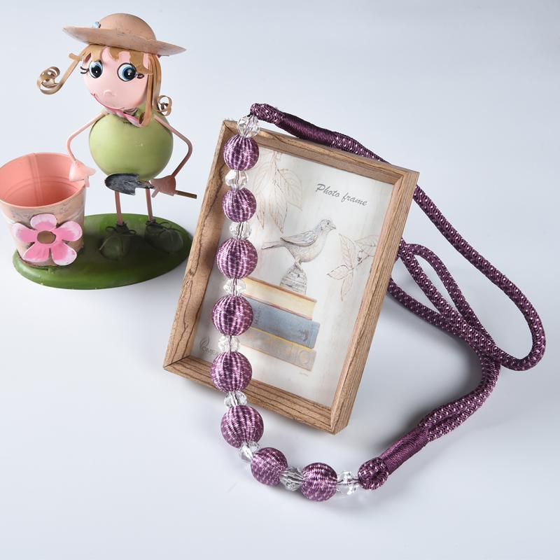 宝泽 简约现代窗帘绑带窗帘绑绳挂球编织串珠绑绳