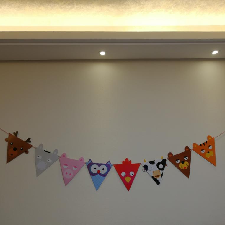 国庆韩版彩旗生日三角旗派对幼儿园店面橱窗装饰串旗婚礼中秋拉花