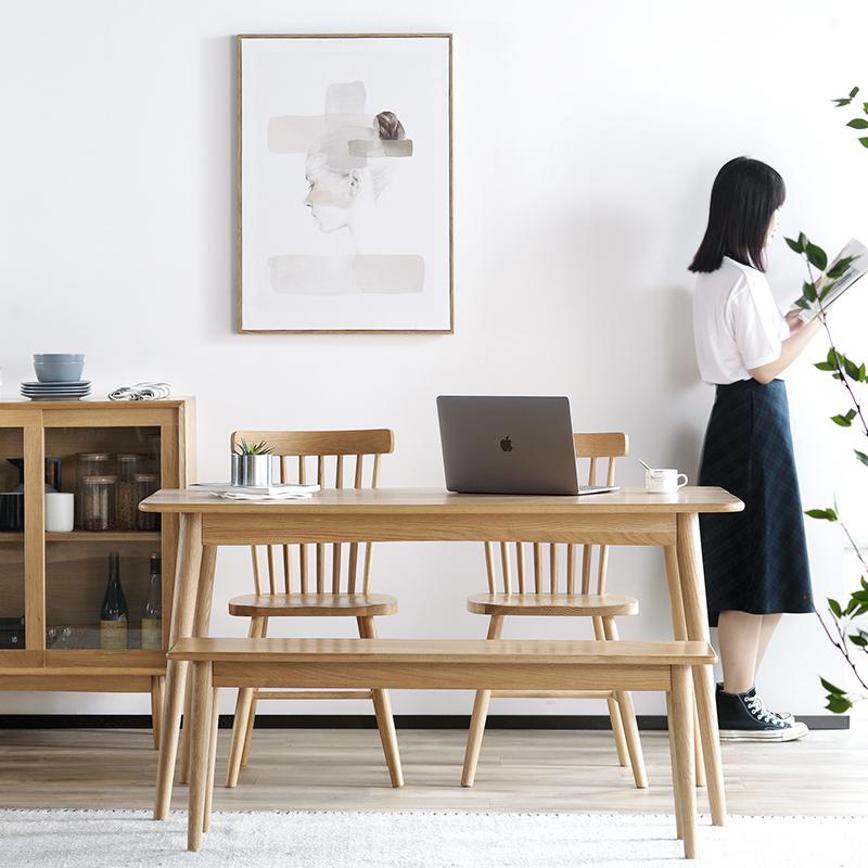 北欧实木餐桌家用小户型日式风格橡木家具简约现代原木餐桌椅组合