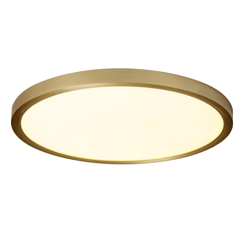 圆形书房吸顶灯现代简约阳台走廊房间北欧卧室灯超薄 led 极简全铜
