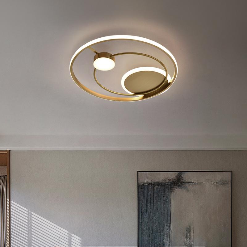 全铜吸顶灯设计艺术感创意书房小客厅房间圆形卧室灯轻奢金色 led