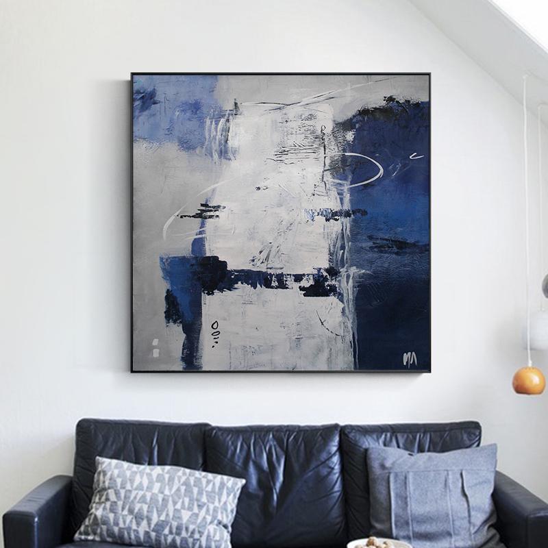 纯手绘抽象油画玄关竖版挂画北欧风格简约现代装饰画美式壁画艺术