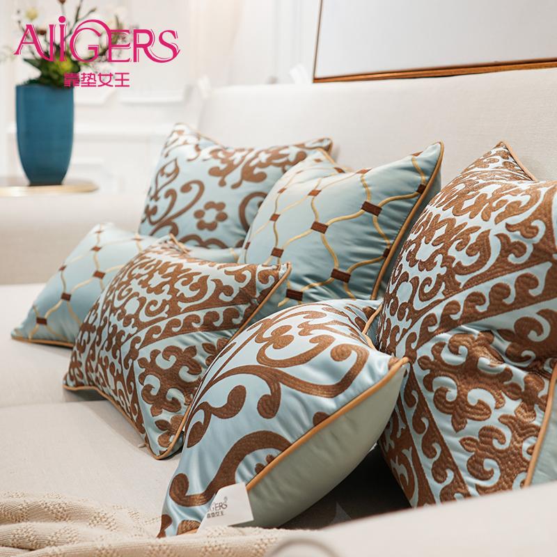 欧式绣花沙发靠垫抱枕套靠包床上靠背含芯大号客厅腰枕长方形定制