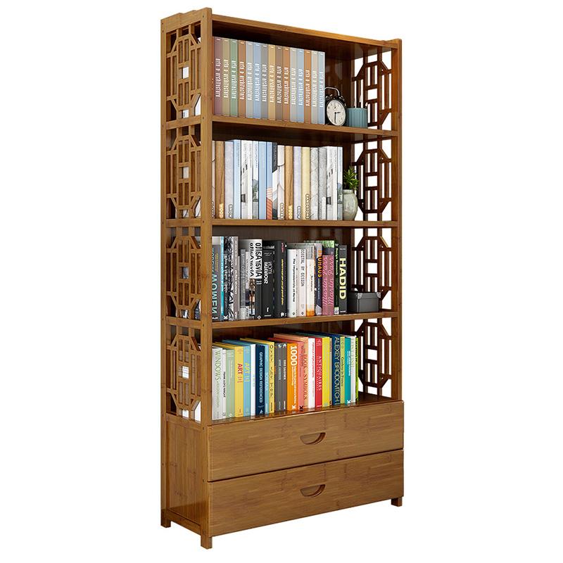 楠竹书架书柜简约现代书架落地简易书架客厅实木置物架收纳储物柜