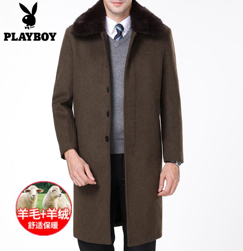 花花公子秋冬季男装中老年毛呢大衣男士过膝长款加厚羊绒风衣外套