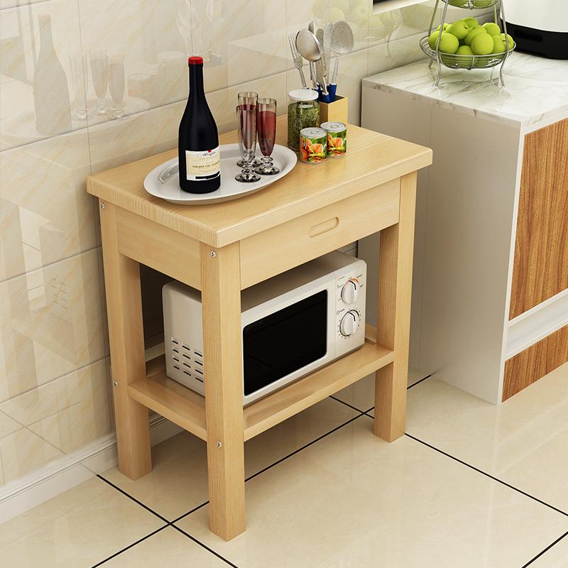 定制实木厨房切菜桌家用实木桌子带抽屉厨房操作台小户型储物桌