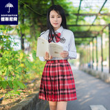 jk uniform skirt full set of female college style student wear class clothes teacher pleated skirt suit sports meeting opening genuine summer