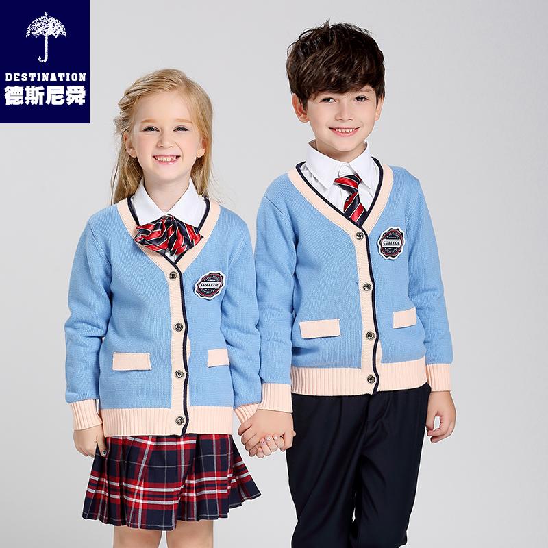 德斯尼舜学院风毛衣开衫英伦风校服套装男女小学生校服幼儿园园服