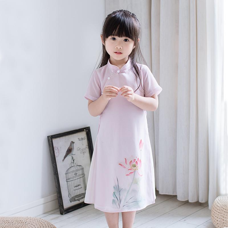 女童旗袍夏复古风连衣裙儿童装中国风雪纺母女装女宝宝汉服亲子装