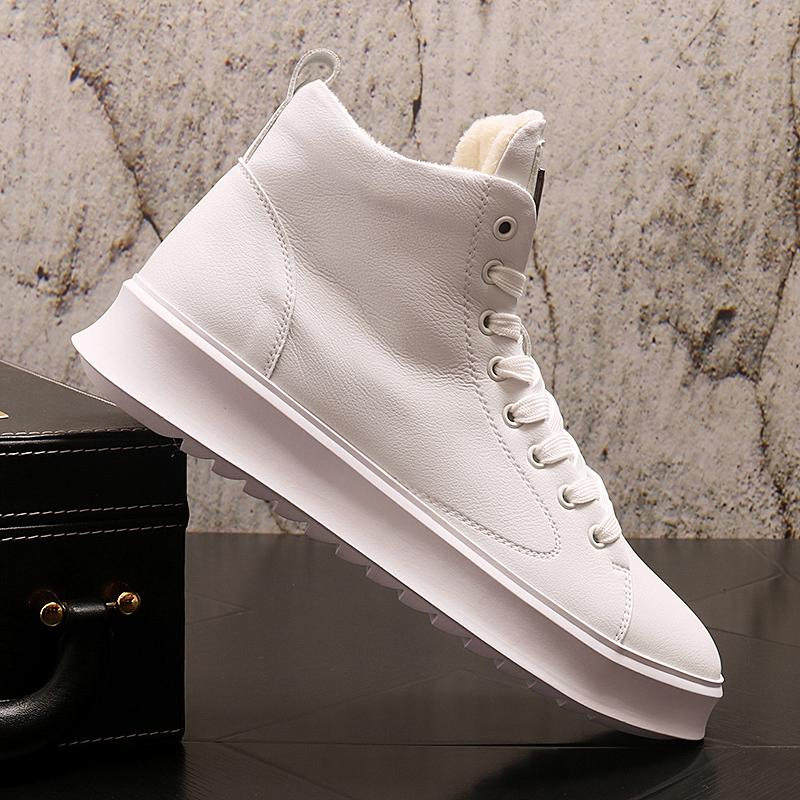 马丁靴男冬季加绒保暖加厚高帮鞋英伦风中帮内增高靴子男百搭短靴