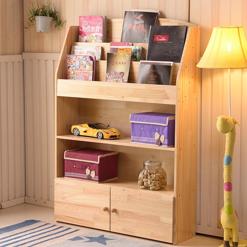 儿童书架书柜实木儿童书柜书架简易书架置物架幼儿园书报展示架