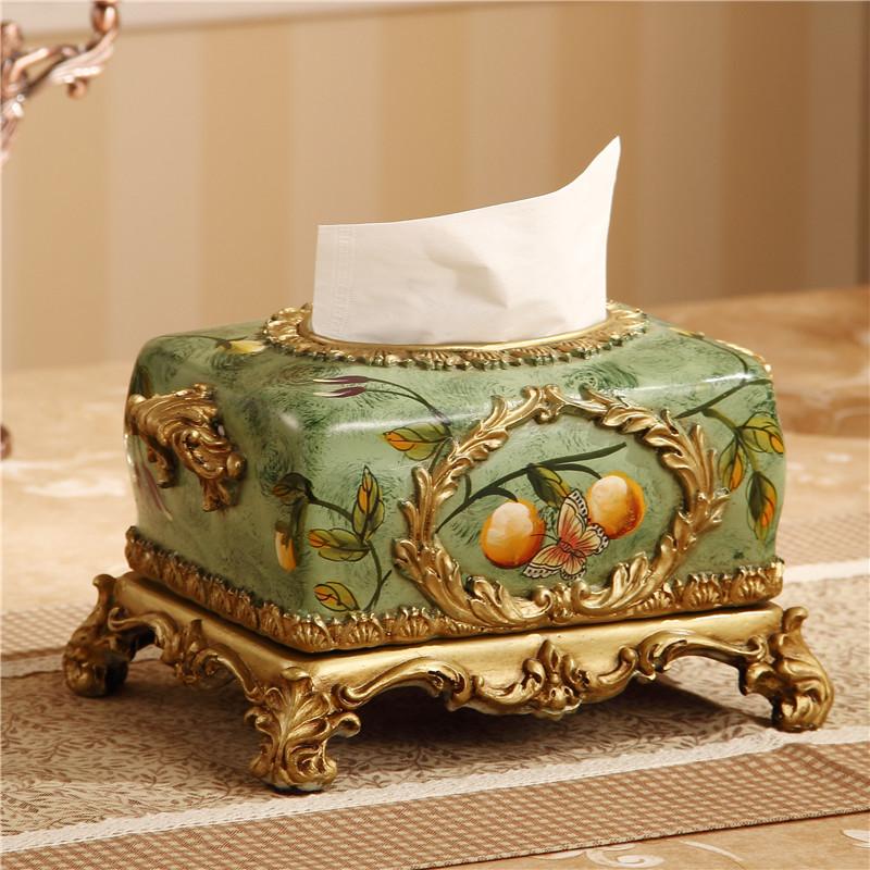 樹脂復古歐式紙巾盒美式抽紙盒家居飾品擺件餐巾盒客廳桌面收納盒