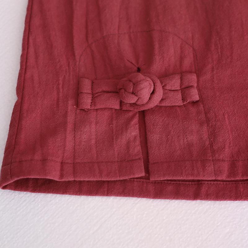 乱在江南棉麻亚麻复古上衣女夏季短袖中国宽松休闲短款民族风t恤