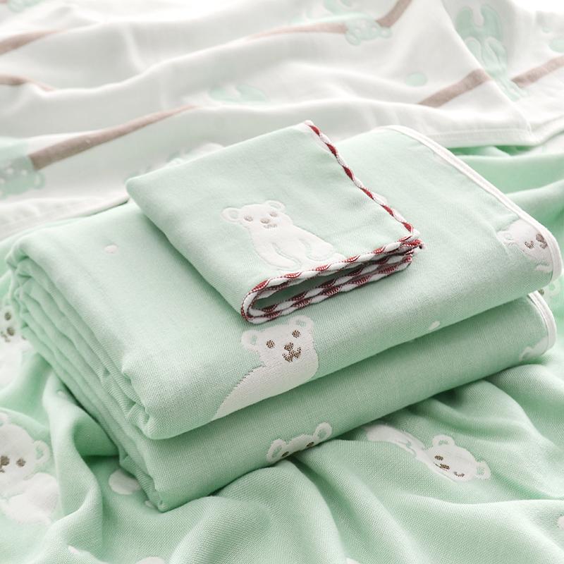 婴儿浴巾纱布纯棉超柔吸水洗澡宝宝新生儿童初生纱巾包被夏季薄款