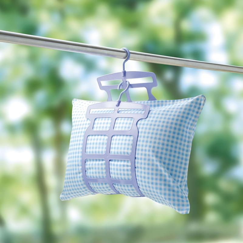 日本陽臺摺疊晒枕頭神器玩具掛架防風架雙掛鉤晾晒網抱枕晾晒夾子