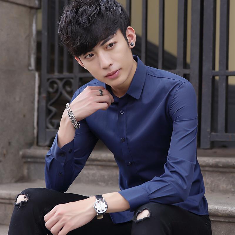 批发夏季白衬衫男士长袖休闲衬衣男青年韩版潮流薄款纯色寸衫 9.9