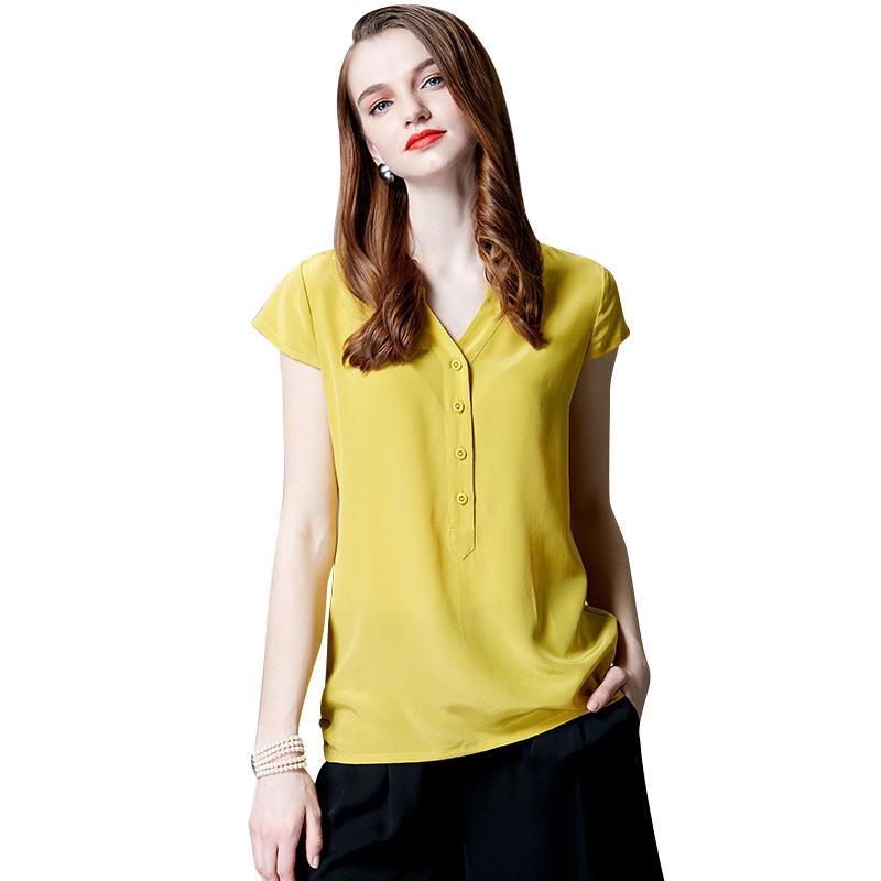 真丝上衣2019夏装新款V领短袖衬衫女纯色高端桑蚕丝大码双绉衬衣