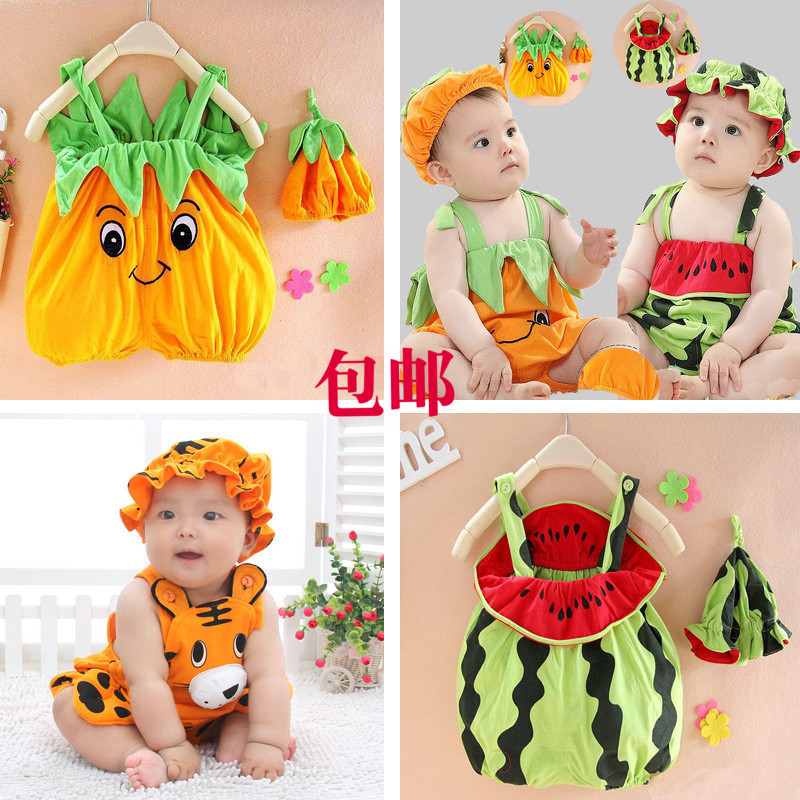 新款夏西瓜裝哈衣 嬰兒連體服男女寶寶造型衣6-1歲童裝開襠爬行服