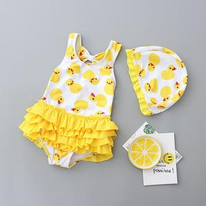 ins韩国儿童泳衣女童公主裙式女孩泳装宝宝可爱小黄鸭连体游泳衣