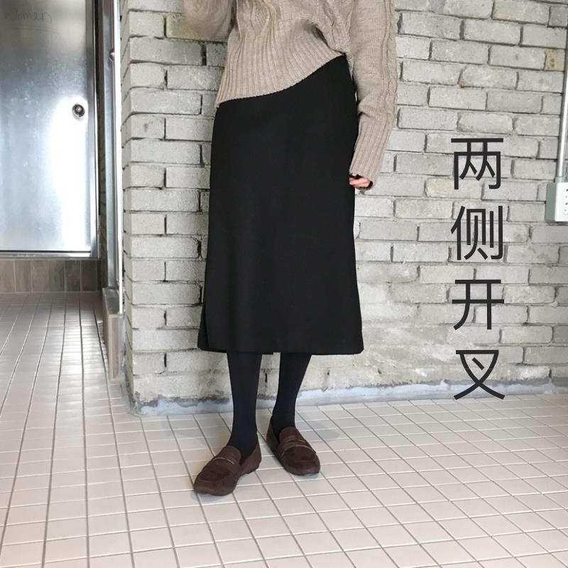2019春夏新款侧开叉罗马布半身裙直筒裙高腰黑色百搭一步裙女大码