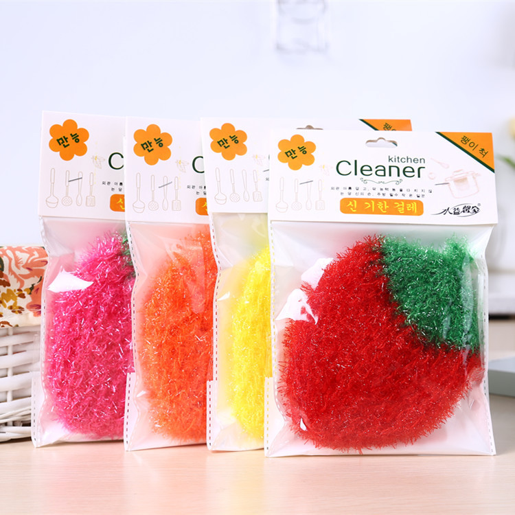 韓國草莓洗碗巾家用加厚不沾油不掉毛去油洗碗布廚房清潔刷碗神器