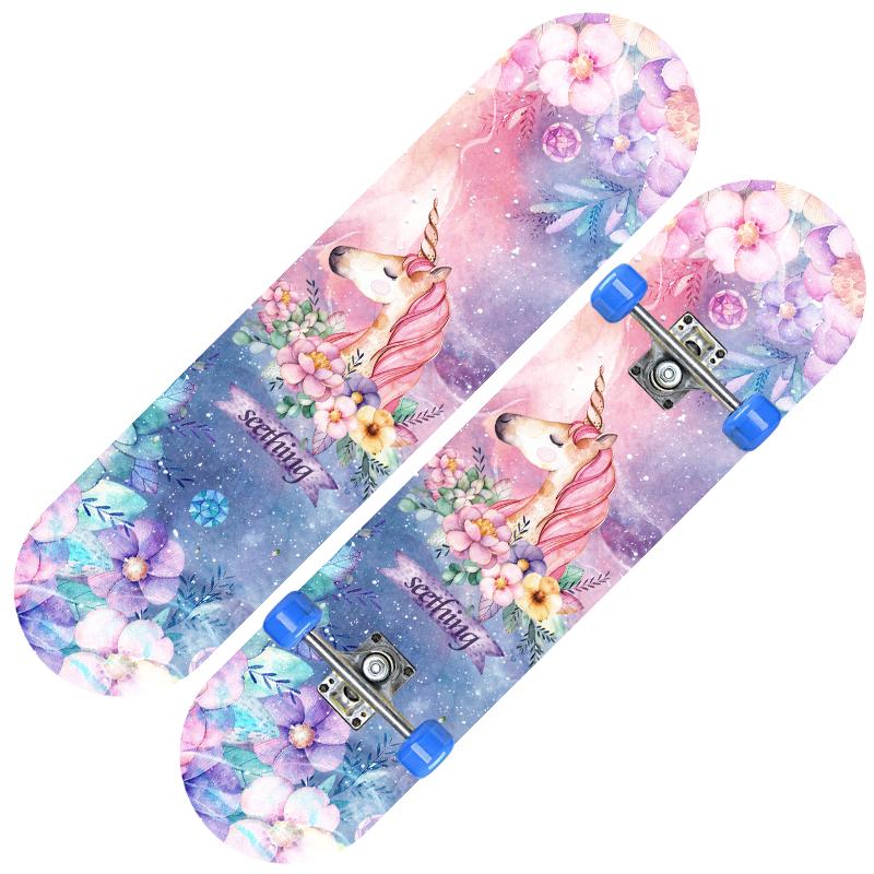 抖音儿童四轮滑板4轮闪光双翘板2-6-12岁小学生初学者滑板车男女