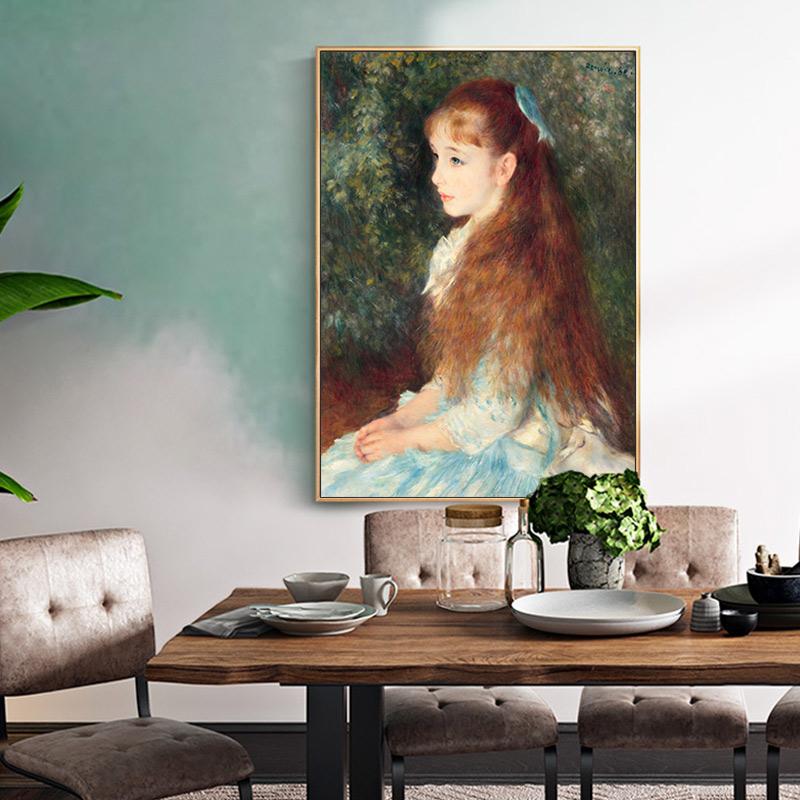 手繪臨摹雷諾阿名畫《艾琳小姐畫像》印象人物肖像油畫純手工定制
