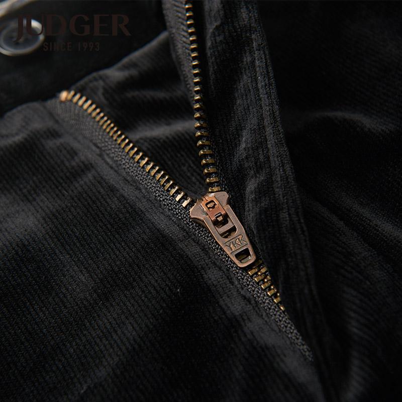 JUDGER/庄吉裤子男冬季 中老年加厚保暖直筒长裤 男士黑色休闲裤