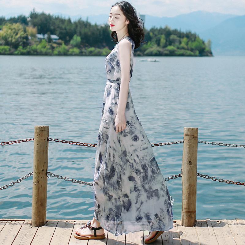 夏雪纺连衣裙长裙超仙显瘦泰国普吉岛马尔代夫三亚海边度假沙滩裙