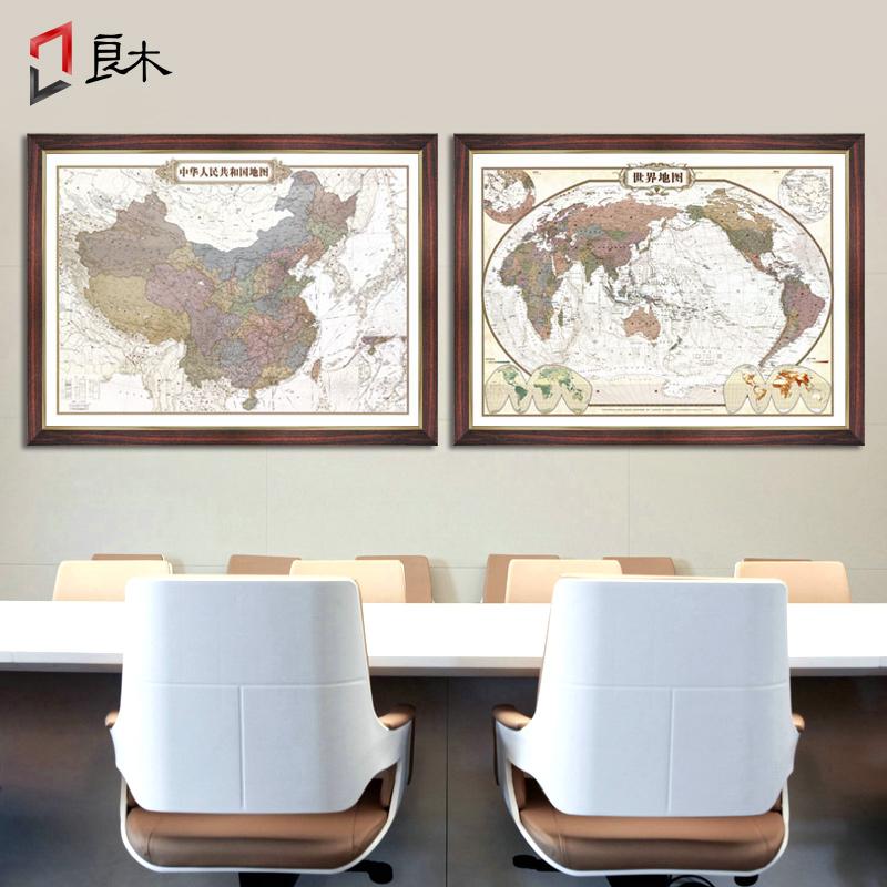 中国地图挂画2019全新版世界地图挂图办公室超大高清装饰家用定制