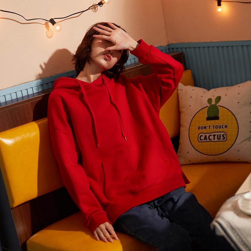 卫衣2019秋季新款女长袖韩版潮宽松粉色卫衣女连帽超火慵懒风卫衣
