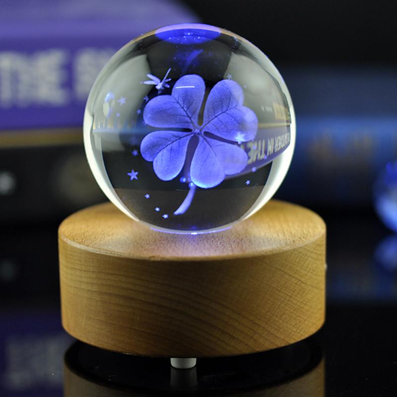 创意发光 diy 蓝牙木质水晶球蒲公英音乐盒八音盒女生儿童生日礼物