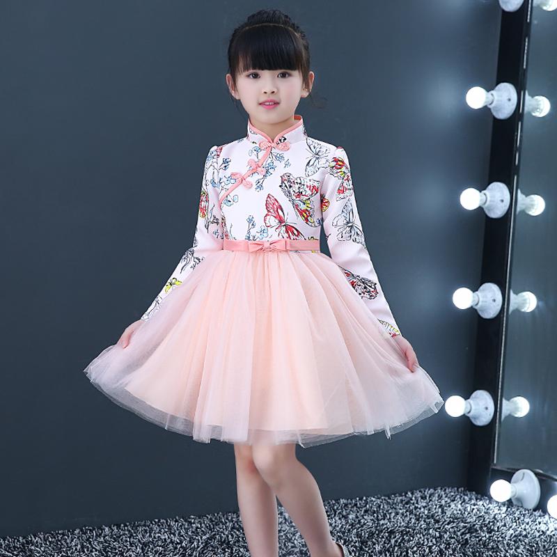 秋冬儿童中国风旗袍女童汉服超仙古筝主持表演出服公主礼服连衣裙