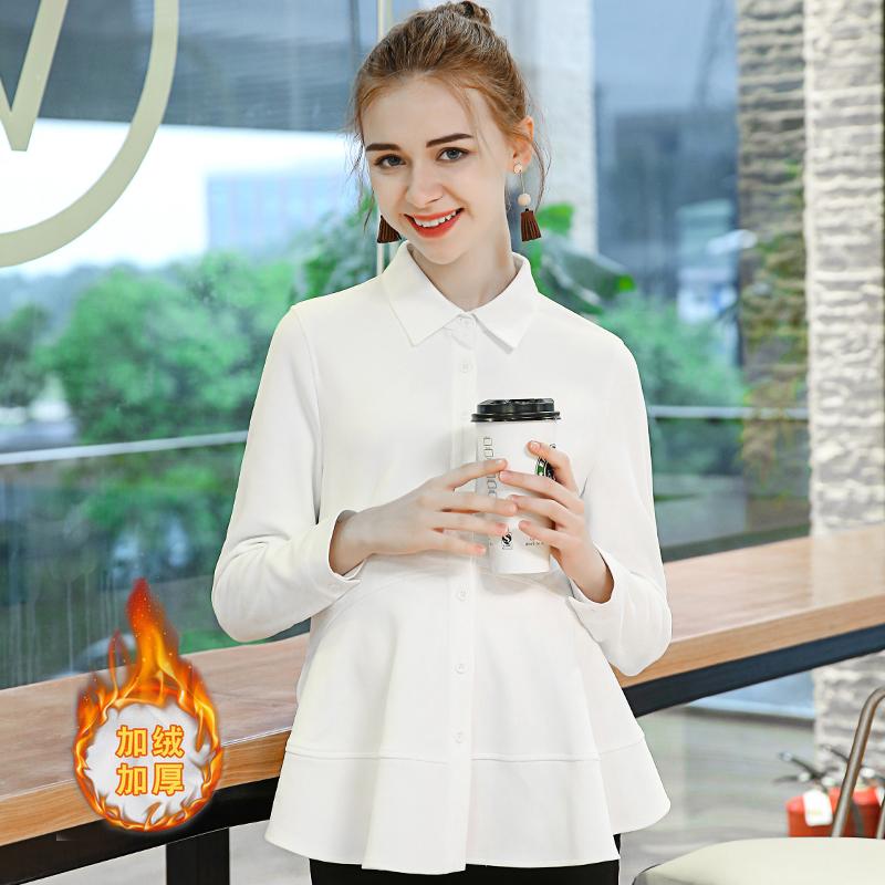 孕妇装2018冬季加绒厚白色纯棉孕妇衬衫女职业长袖打底衫上衣衬衣