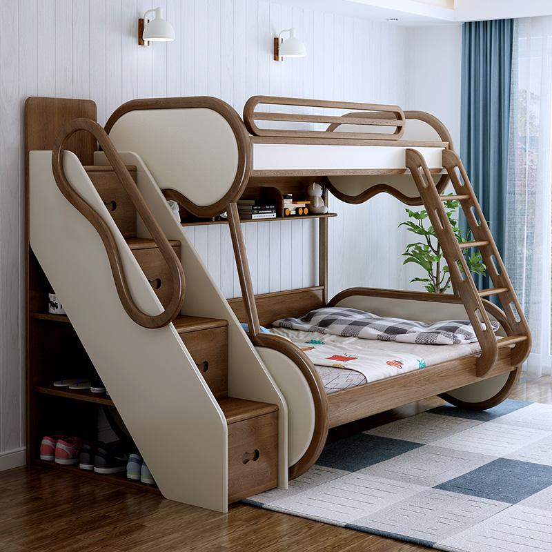 北欧全实木子母高低床白腊木软包上下床成人男孩女孩三层儿童床