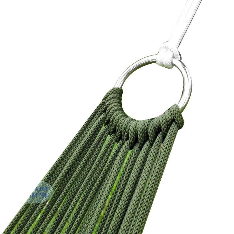 沙滩透气轻便单人庭院秋千 网格网孔吊床网绳吊床 弯木棍网状吊床
