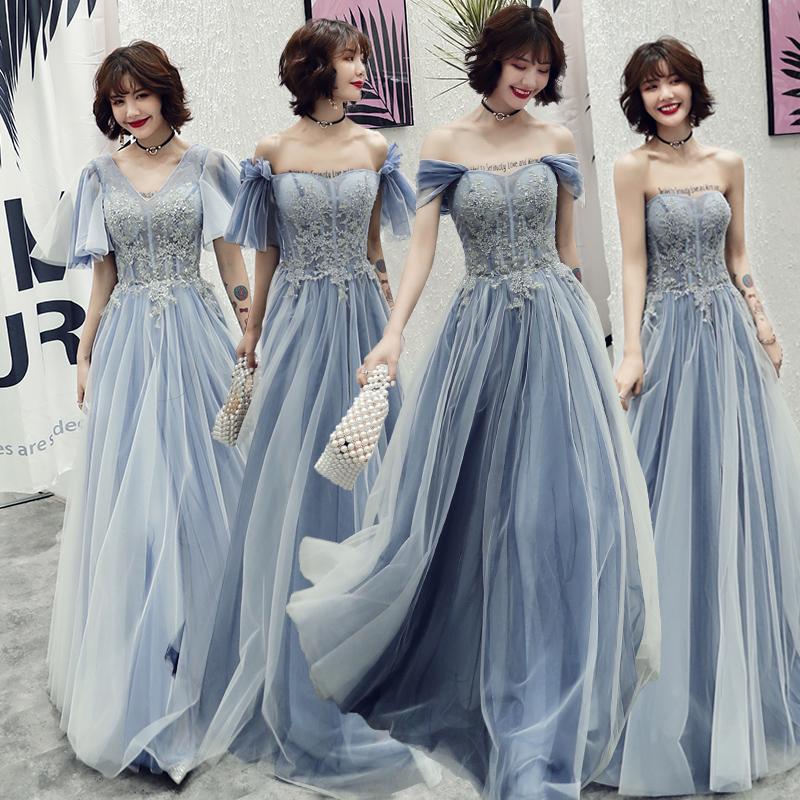 蓝色伴娘服2019新款夏季仙气质长款姐妹团晚礼服长裙女宴会中长款