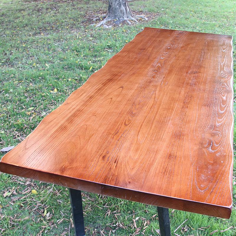 老榆木板吧台板厚实木餐桌面板台面大板松木飘窗板办公桌原木定制
