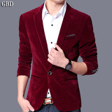 Autumn suit men's jacket business casual jacket Korean Slim men's gold velvet single western youth small suit