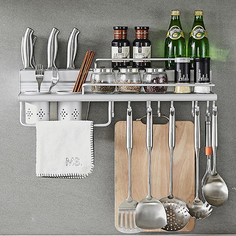 卡贝加厚太空铝厨房置物架壁挂墙上多功能挂架刀架用品收纳架家用