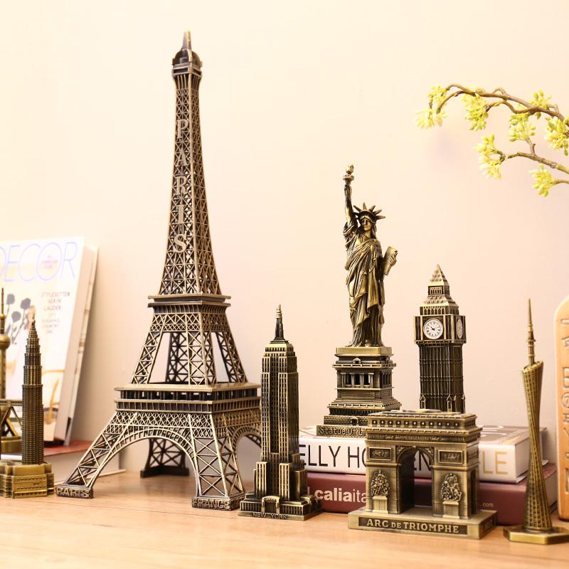 巴黎埃菲爾鐵塔模型小擺件創意客廳酒櫃裝飾品玄關隔斷擺設工藝品