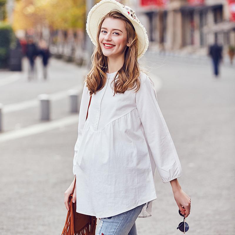 孕妇衬衫中长款春秋款衬衣职业连衣裙纯棉衣服孕妈上衣孕妇装秋装