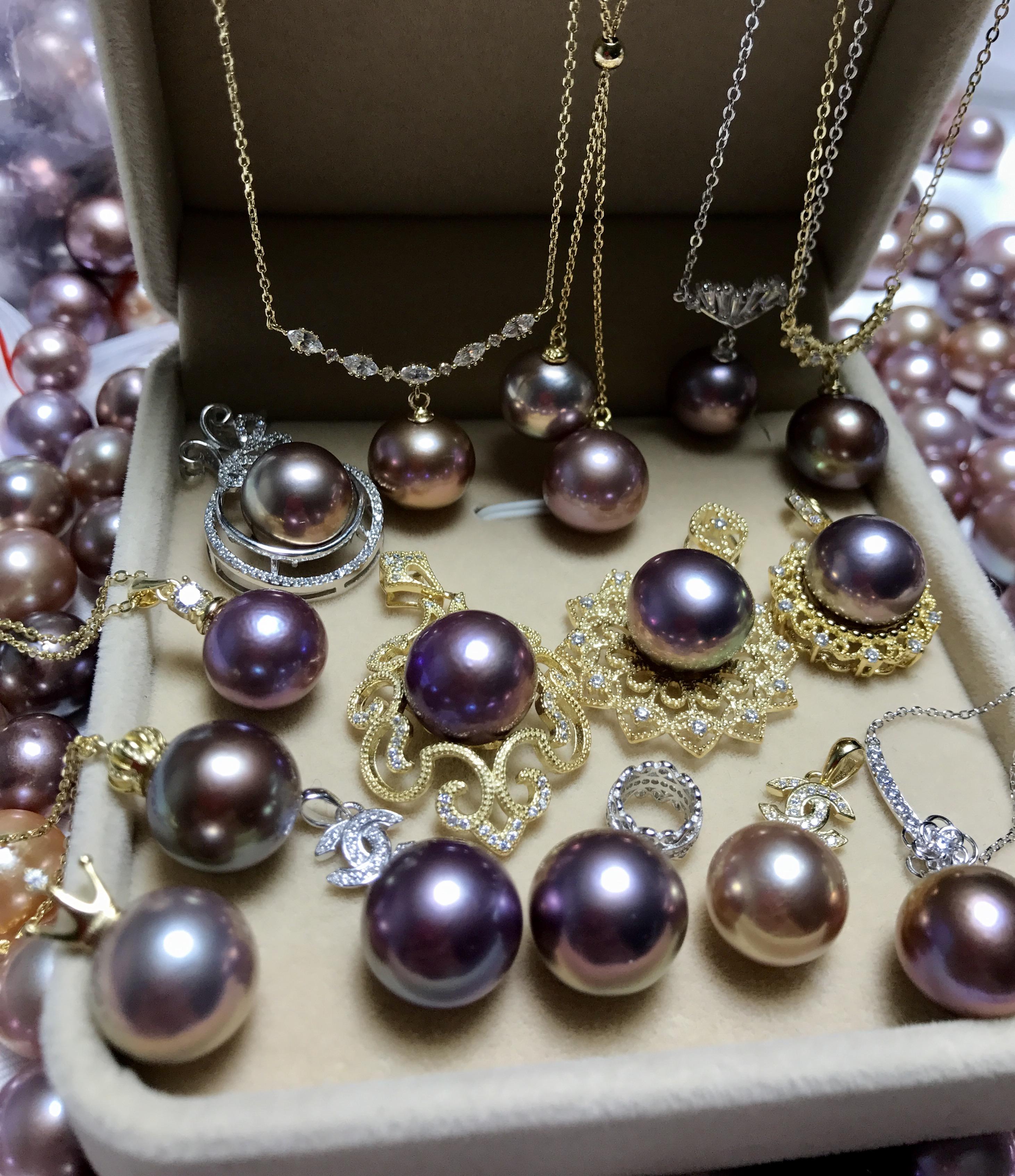 天然淡水珍珠项链炫紫色妖紫色金属色镜面感强光爱迪生吊坠耳饰品