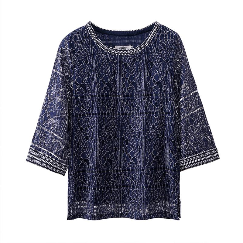 蕾丝衫上衣女夏短款2019新款宽松遮肚子雪纺衫时尚显瘦镂空打底衫