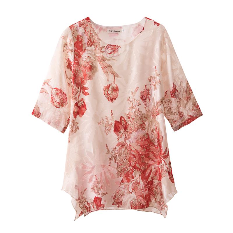 2019新夏装印花短袖宽松雪纺衫上衣女大码遮肚子打底衫中长款显瘦
