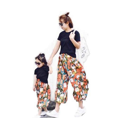 新款夏季童装宽松儿童哈伦裤母子母女装旅游度假装韩 2018 亲子套装